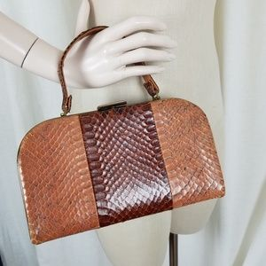 VINTAGE 60s Two Tone Faux Alligator Leather Purse